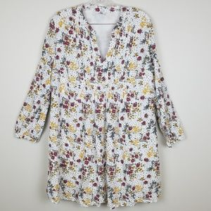 Old Navy White Floral Long Sleeve Dress Size Large